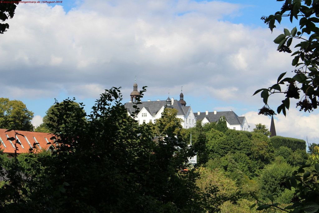 Although Plön castles is located on top of a little hill, it is barely visible through the dense green of old majestic trees.